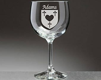 Adams Irish Coat of Arms Red Wine Glasses - Set of 4 (Sand Etched)
