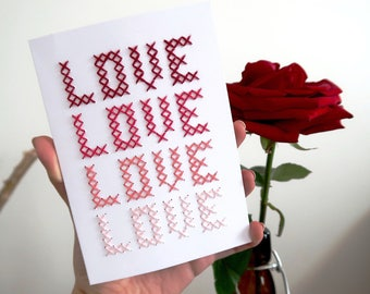 Hand embroidered love card