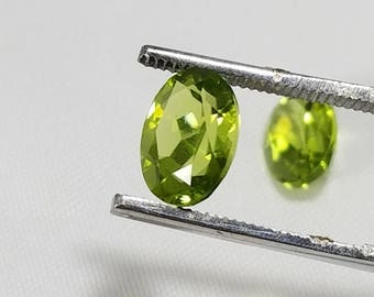 Set of 2 Natural Peridot Gemstones. 5mm x 8mm.