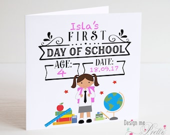 Personalised Girls First Day at School Card