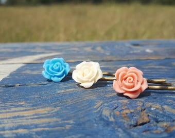 3 piece hair pin set Teal, Ivory, coral pink