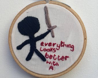 Impractical Jokers Embroidery Hoop Art, Sal Vulcano Art, Embroidery, Ninja Embroidery Hoop Art, IJ Art, Jokers Art
