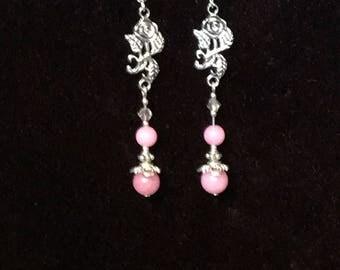 Pink Morganite and Tibetan Silver Rose Dangle Earrings