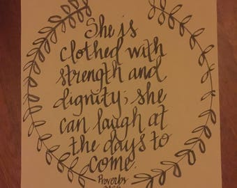Hand-lettered verse on burlap, will attach to rustic wood plaque