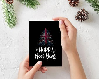 Happy 2018, Happy New Year card with Christmas tree and UK flag, Downloadable Christmas card