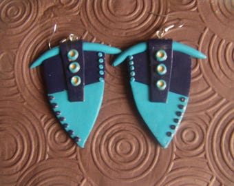 Mint and windsor blue fimo earrings