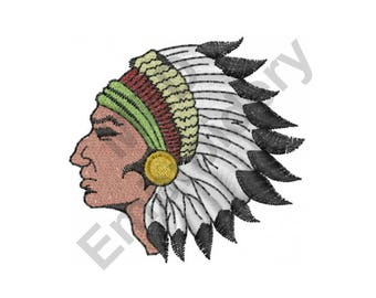Indian Head - Machine Embroidery Design