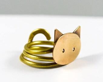 Cat handmade, Cat lover gift, Cat jewelry, Cat ring, Bronze jewelry, Bronze ring, Brass ring, Minimalist ring, Minimalist jewelry, Wife gift