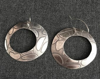 Patterned Mod-style Cut-Out Sterling Silver Hoops