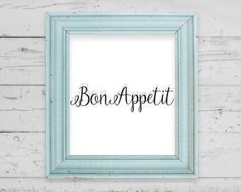 Instant Wall Art Download, Bon Appetit Design