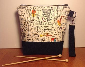 Small musical project bag, sock project bag, WIP bag, project bag, zipper bag, project bag for knitting zippered, zipper bag, sock sack
