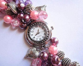 Chunky Beaded Watch Bracelet with Silver Charms, Pearl Cluster Wrist Watch, Quartz Charm Watch, Pink and Purple, Gift For Her
