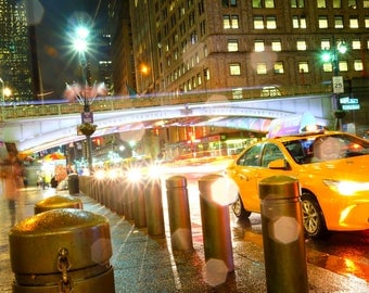 New York, Grand Central Station, NYC, Yellow Cabs, Night Photography