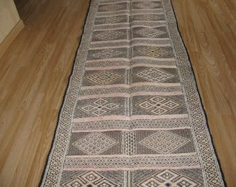 Fantastic Moroccan berber corridors rug made from silk and wool with geometric motifs 260CMx73CM
