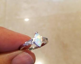 Australian Opal and White Topaz Handmade Ring