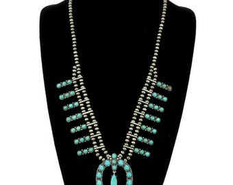 Natural Turquoise Full Squash Blossom Necklace 28""