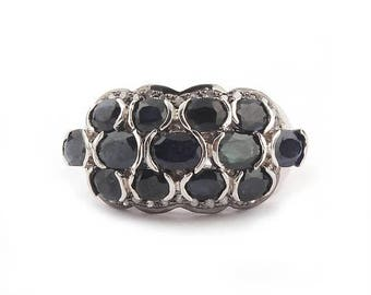 50% off 1 PC Pave Diamond With Iolite Gemstone Ring - 925 Sterling Silver Designer Diamond Ring - Ring Size - 7.5 PDJ067