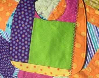 Vibrant Handmade Baby Quilt and Bib Set