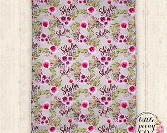 Floral Pattern Minky Blanket - Floral Pattern Baby Receiving Blanket with Personalized Name Print - 30x40, 50x60, 60x80