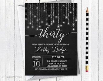 30th Birthday Invitation, Chalkboard Birthday Invite, Glam Silver Birthday Invite, Any age, PERSONALIZED, Digital file, #W24