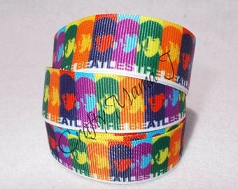 """The Beatles English Rock Band 7/8"""" Grosgrain Ribbon by the yard. Choose 3/5/10 yards. Rock and Roll Music"""