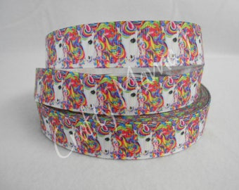 "Rainbow Unicorn on 7/8"" Grosgrain Ribbon by the yard. Choose 3/5/10 yards."