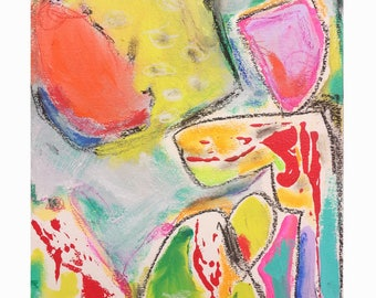 Let's Play - Mixed media on watercolor paper  - Colorful Affordable art