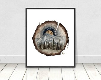 Surreal Tree Stamp Circle with a Nature Landscape Giclee Art Print- Fine Art Print of Original Watercolour Artwork- Rustic Home Design