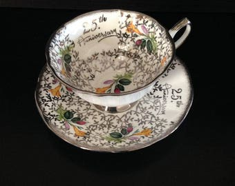 Elizabethan tea cup and saucer set, 25th anniversary, made in England