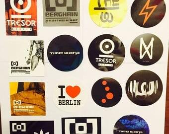 30 x Berlin & Ibiza Club Stickers - Aufkleber - Pegatinas - Adesivi - Berghain Watergate Tresor Time Warp Cocoon Amnesia Hyte Music On