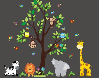 Nursery Wall Decal - Jungle Decal - Kids Wall Decal - Kids Room Wall Decal - Tree Wall Decal - Gender Neutral Decal - Safari Animal Decal