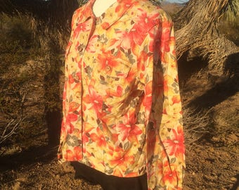 Cold Water Creek Womens Floral Button Up Shirt