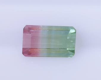 2.24 ct Emerald Cut Watermelon Tourmaline, Tri-color Tourmaline, Octagonal Tourmaline, Loose Gemstone,Multicolored Tourmaline,Tourmaline Gem