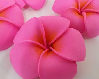 Moana Inspired - Pink Plumeria Flower Hair Clip - Great for Girl's Birthday Party Favors - Baby Moana Hawaiian Tropical Luau Theme Supplies