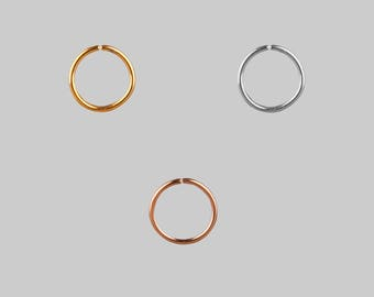 8mm surgical steel wire nose rings - available in gold and silver finish