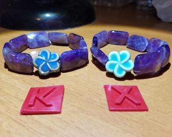 Natural Amethyst Bracelet with Ceramic Flower 天然紫晶陶瓷花手串