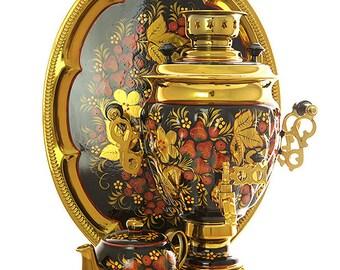 "Russian Electric Samovar Tray Teapot Set ""Khokhloma redhead"" for 110 volts"