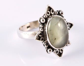 Prehnite 92.5 sterling silver ring size 8 us
