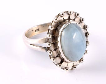 Blue opal 92.5 sterling silver ring size 6.5 us