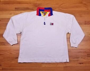 Vintage 90s Tommy Hilfiger 1/4 Zip Pull Over White Color Block Jacket Size XL