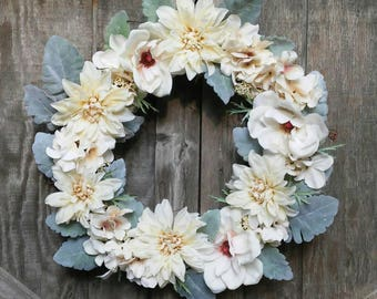 Farmhouse Wreath/Magnolia Wreath/Front Door/White Decor/Dusty Miller/Living Space/Bridal Shower/Wedding/Birthday/Everyday Decor/All Seasons