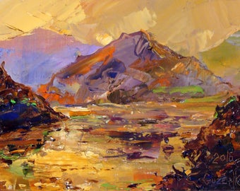 """A magnificent picture of the Ukrainian artist Pavel Guzenko """"Mountain landscape with an evening perspective"""""""