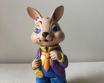 Ceramic 1970's Rabbit figurine-easter-college rabbit-kids room-easter decorations-spring-vintage ceramic rabbit