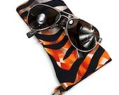 Sunglasses Glasses Case Snappy Snap Closure Orange Tiger Print by Bunzo Co