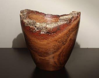 Natural Bark Edge Hand Turned Spalted Oak Wooden Bowl