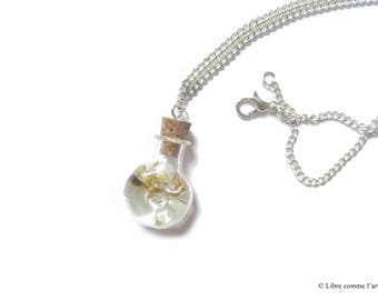 TRANSPARENT spring CO' summer vial resin necklace with real dried yellow flower