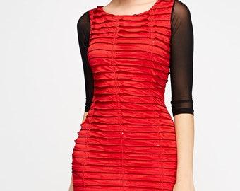 Women's Ruffled Mesh Sleeve Dress