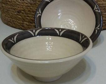Set Of 4 Ceramic Small Bowls / Handmade Stoneware Plates /Cream-Brown Bronze Serving bowls /Israel
