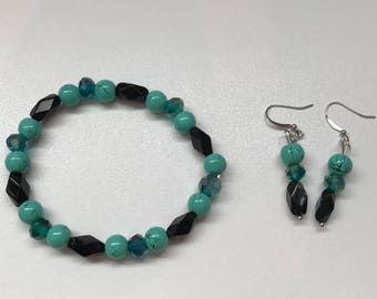 Turquoise Drop Earring and Bracelet Set