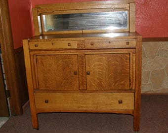 Arts & Crafts Mission Style Oak Buffet / Sideboard (circa 1890's) Rustic Home Decor